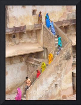 Descending the Steps of Orchha Palace