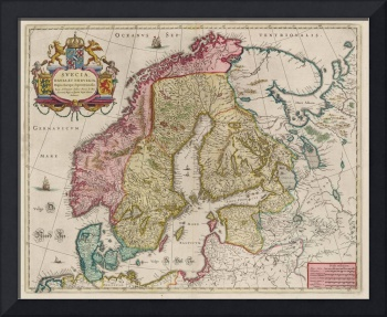 Vintage Map of Scandinavia (1665)