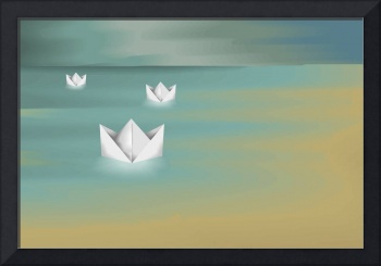 Digital painting of paper boat