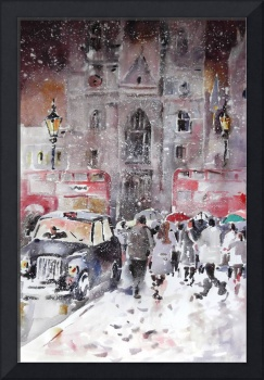 Winter Snow In London – City Street Scene