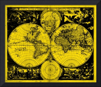Vintage Map of The World (1685) Black & Yellow