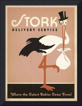 Stork Delivery in Pink - Retro Poster