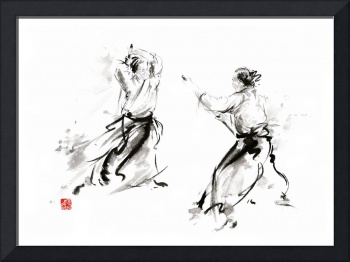 Aikido enso circle martial arts sumi-e original in