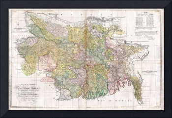 Map of  Bengal and Bihar, India (1776)