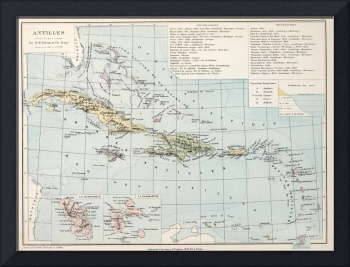 Vintage Map of The Caribbean (1886)