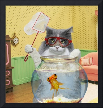 Bad Cat Fishing For Goldfish