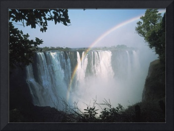 Rainbow In Front Of Victoria Falls Zimbabwe