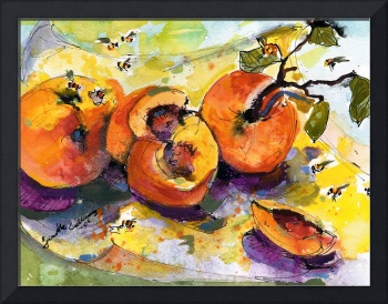Peaches & Bees Painting by Ginette Callaway