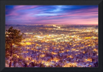 Downtown Boulder Colorado City Lights Sunrise