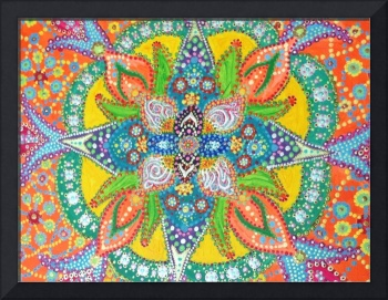 Bright, fun acrylic mandala painting