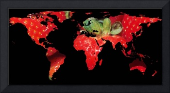 World Map Silhouette - Strawberries