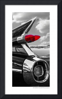 1959 Cadillac Tail Fin BW + Red