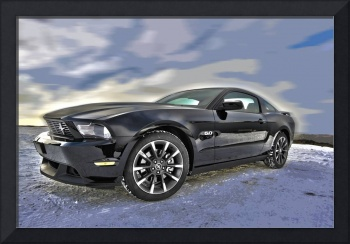 Ford Mustang in Dusting of Snow in the Mountains