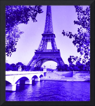 Eiffel Tower Seine River Indigo Cropped