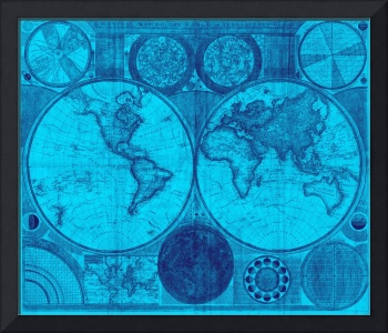 World Map (1794) Light Blue & Blue