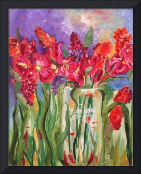 Open Red Tulips