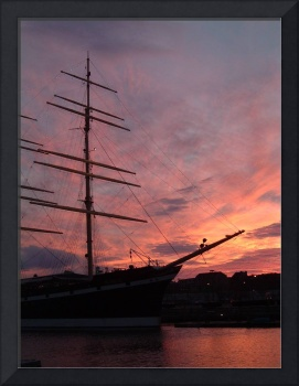 Philadelphia, Sunset behind the Tall Ship -2