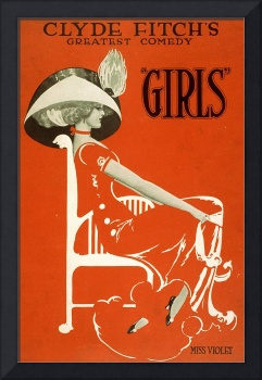 Girls, Broadway Show by Clyde Fitch Vintage Poster
