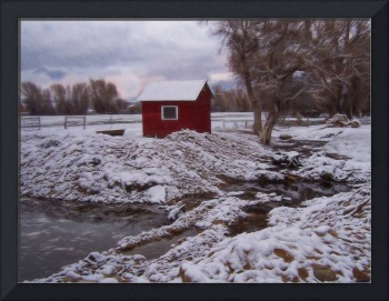 Red Hut in Snow