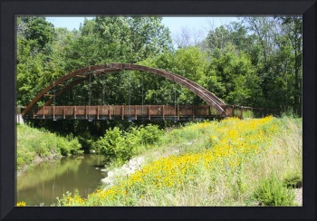 Wooded Bridge with  Reflection