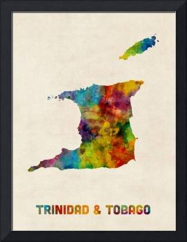 Trinidad and Tobago Watercolor Map