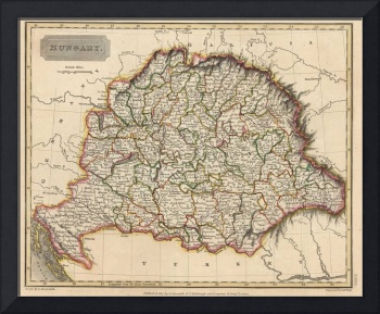 Vintage Map of Hungary (1817)
