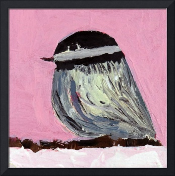 Pink chickadee bird