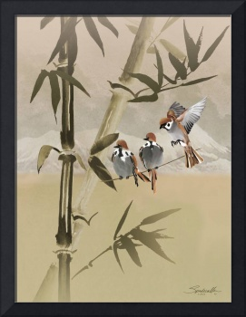 Spring Sparrows in Bamboo Tree