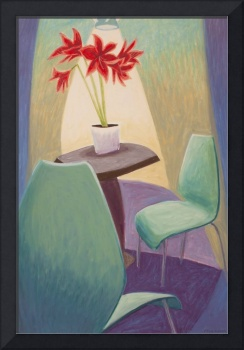 Floral: Green Chairs and Red Amaryllis