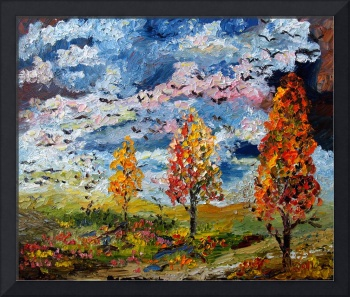 Autumn Storm Fall Colors Oil Painting by Ginette