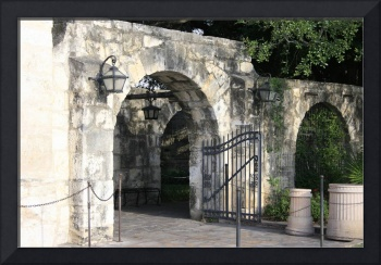 Gates to the courtyard of the church at the Alamo