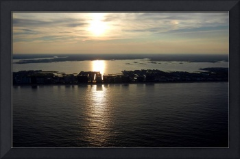 Sun Setting over Condo Row in Ocean City - Aerial