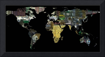 World Map Silhouette - A Busy World Painting