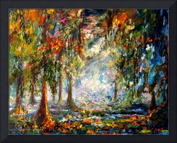 Okefenokee Fog Oil Landscape by Ginette Callaway