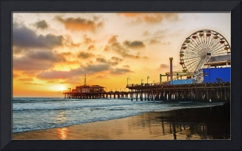 Twilight and Reflections at Santa Monica Pier Cali