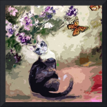 Modern Cat Art Mixed Media P2
