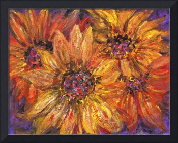 Textured Yellow and Red Sunflowers