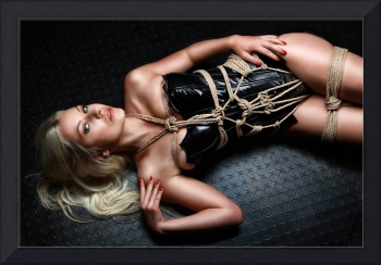 Tied blonde lying on floor - Fine Art of Bondage