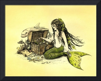 'Lilly' Mermaid and Dolphin Ink Drawing