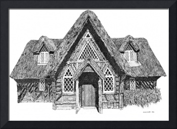 Stipple Pen and Ink Irish Cottage