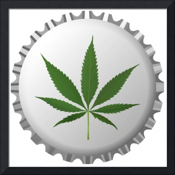 cannabis leaf on bottle cap against white