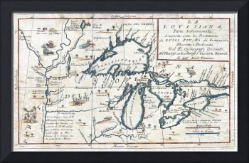 1696 Coronelli Map of the Great Lakes