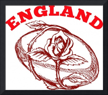 England rugby ball with English rose flower