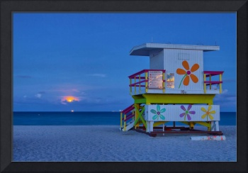 Moonrise ~ 16th Street Lifeguard Tower