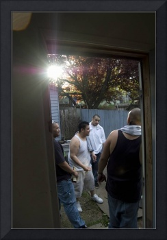 Men through the doorway