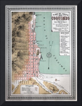 Vintage Coquimbo Chile Map (1895)