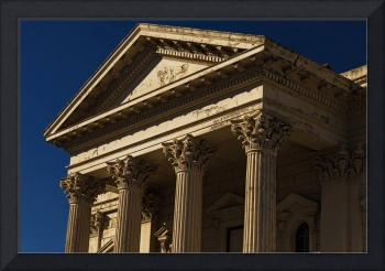 Old Building with Corinthian Pillars and Blue Sky