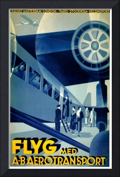 Vintage 1932 Flyg Airline Travel Art