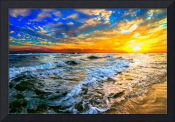 yellow orange blue colorful ocean sunset prints