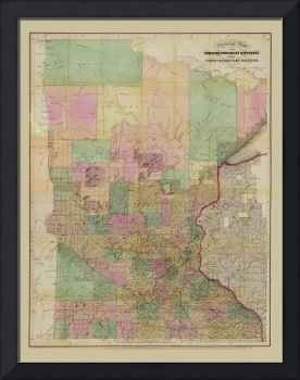 Sectional Map of Minnesota (circa 1860)